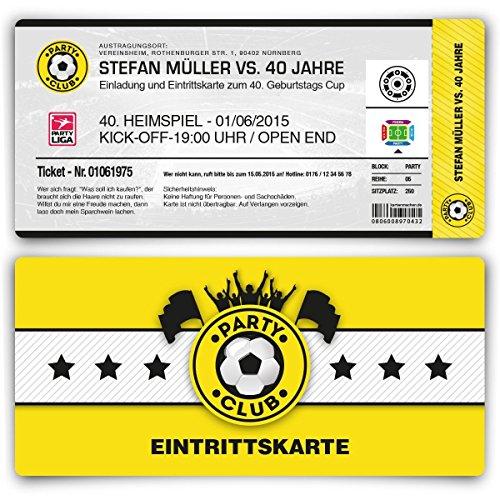 Einladungskarten zum Geburtstag (10 Stück) als Fußballticket Karte Fussball Einladung Ticket in Gelb