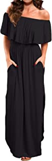 Women's Off Shoulder Summer Casual Long Ruffle Beach Maxi Dress with Pockets
