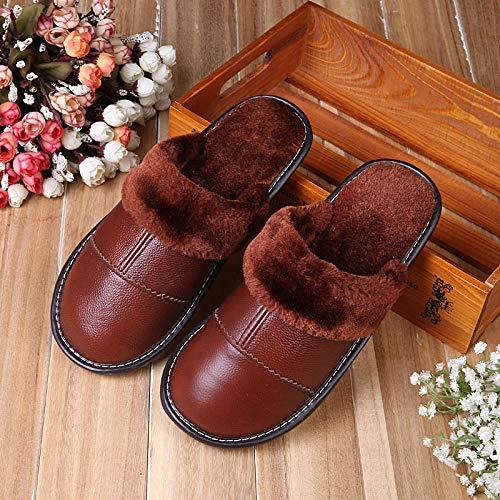 Cxypeng Pantofole Uomo Inverna,Pantofole in Pelle con Fondo Tendine Peluche Interno ed Esterno-Cioccolato_41-42,Pantofole da Uomo in Caldo Cotone Invernale Antiscivolo