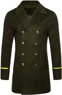 Clearance Mens Coat! Pervobs Men's Casual Autumn Winter Parka Coat Solid Button Long Trench Thick Woolen Coat Overcoat