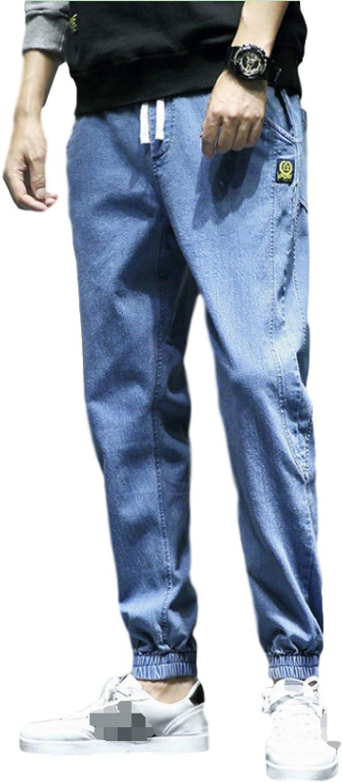 Huntrly Men's Stretch Slim Fit Jeans with Drawstring Pockets Stitching Washed Denim