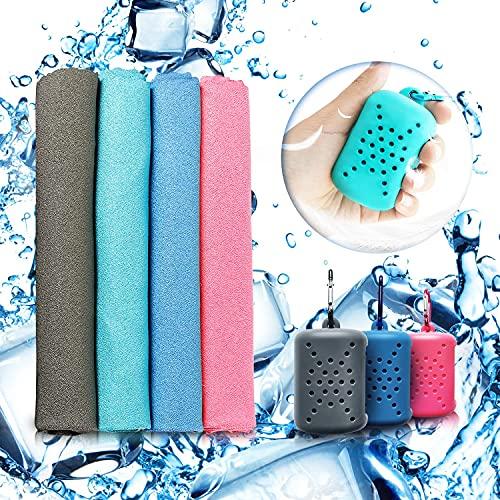 MUTAO Kühlendes Handtuch, 4 Stück, Nano-Mikrofaser, sofort kühlendes Eishandtuch, schnelltrocknend, Sport, kühles Handtuch, antiallergen, Fitnessstudio, Bandana mit Silikon-Aufbewahrungstasche