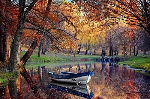 Digitaal schilderwerk, knutselen, kleine boot, fluvial, herfstbos, geschenken, decoratie voor woonkamer, creatief, casual, handbeschilderd, zonder lijst, 40 x 50 cm