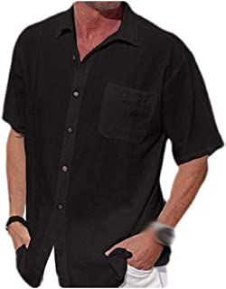 neveraway Men's Linen Short Sleeve Solid Relaxed-Fit Summer Button Shirts