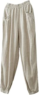 Women's Cotton Linen Tapered Cropped Pants Elastic Waist Trousers