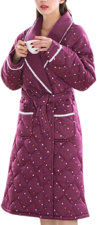 Xswsy XGCA Womens Thicken Printing Lapel Pockets Sleepwear Quilted Comfy Bathrobe