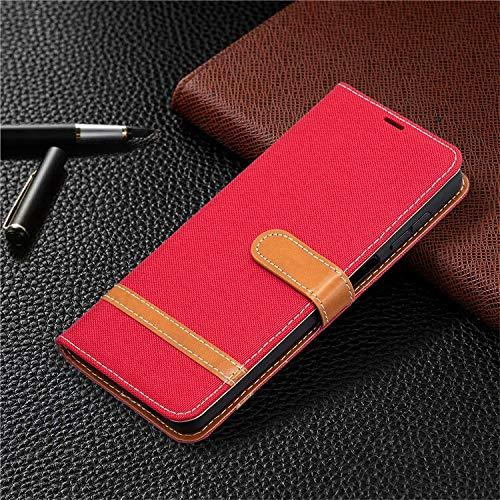QiuKui Fundas para LG K4 K7 K8 2017 K10 2018, funda de vaquero de lujo, funda tipo cartera de cuero para teléfono LG K40 K50 K61 Q60 Q8 G6 G7 (color: rojo, material: para LG K10)