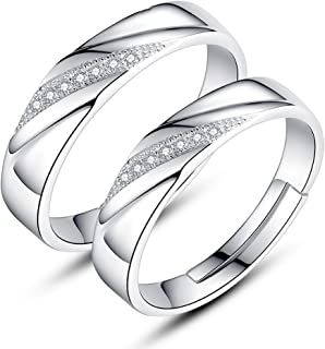 TIDOO Jewelry S925 Sterling Silver Adjustable Engagement Ring Wedding Couple Rings for Men and Women