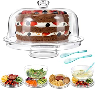 Mastertop Big Size 6-in-1 Acrylic Plastic Cake Stand with Domed Cover and 2Pcs Spoons and Multifunction Desserts Salad Plate Bowl 12.6X6.6X12.6In