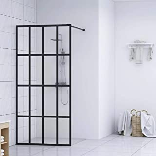 """Tidyard Walk-in Shower Screen Tempered Glass Frameless Shower Door Adjustable Profile and Supporting Bar 39.4""""x76.8"""" /55...."""