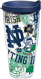 Tervis 1277387 Notre Dame Fighting Irish All Over Tumbler with Wrap and Navy Lid 24oz, Clear