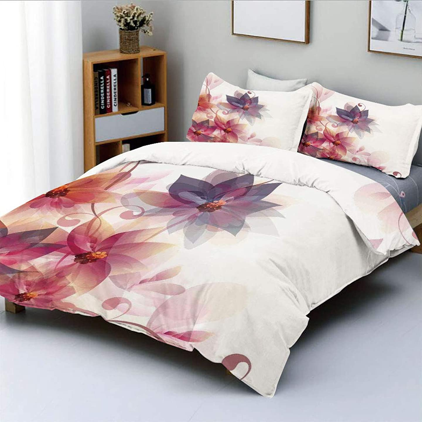 Duplex Print Duvet Cover Set King Size,Modern Floral Design with Burts and Leaves Detail Romantic ImageDecorative 3 Piece Bedding Set with 2 Pillow Sham,Pink Purple and Orange,Best Gift For Kids & Adu