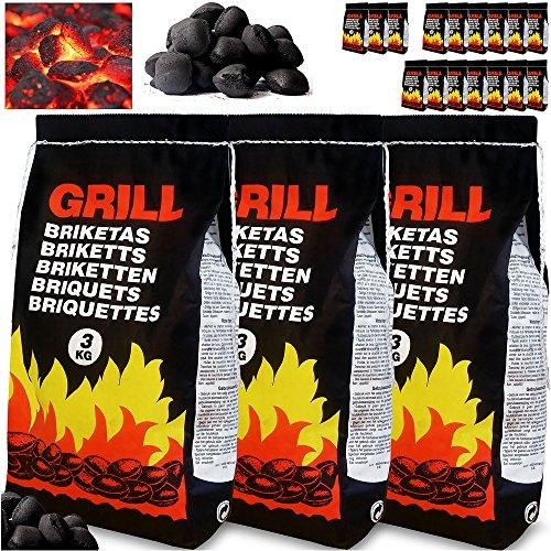 Deuba 21kg de Charbon de Bois pour BBQ - 7X Sac de 3kg Briquettes à Barbecue - Braises Longue durée - Grill Jardin Terrasse