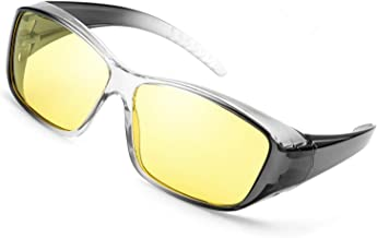 IGnaef Night Vision Wrap Around Glasses, Fit Over Prescription Glasses HD Polarized Yellow Lens Night Driving Glasses