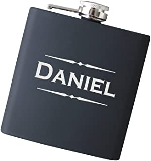 Engraved Custom Name Flask with Free Personalization - Your Choice of Colors, 6 oz Stainless Steel Flask Drinkware - F25