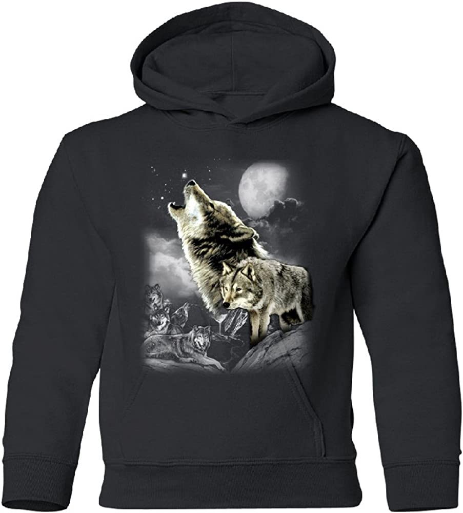Free shipping Wolves Wildness Howling Full Moon Hoodie Youth Mountain Bargain sale The Wolf