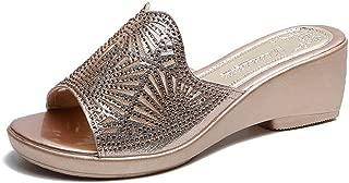 Summer 5.5cm Women Slippers Wedge Beach Indoor&Outdoor Shoes (Color : Golden, Size : 36)