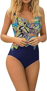 Women's Swimsuits One Piece Tummy Control Backless Sexy Print Beachwear
