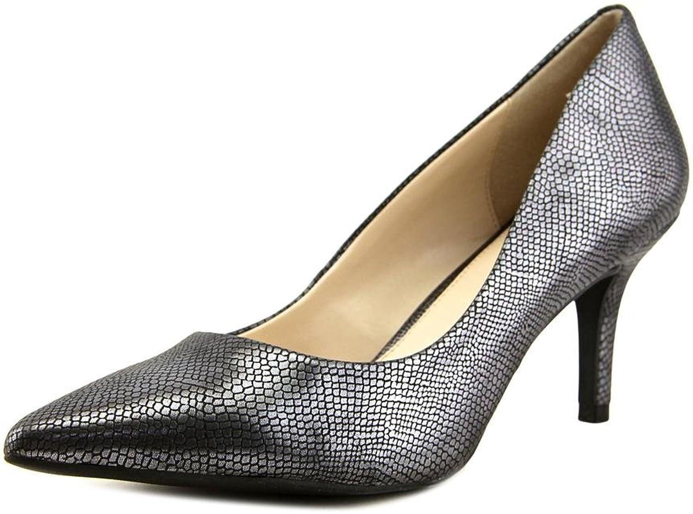 Alfani Jeules Women Pointed Toe Canvas Silver Heels, Pewter Lizard, Size 9.5
