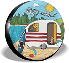 HAINANBOY Happy Camper Spare Tire Covers Potable Corrosion Wheel Covers Sun-Proof for Jeep Trailer RV SUV Truck Camper Travel Trailer Accessories 14 15 16 17 Inch