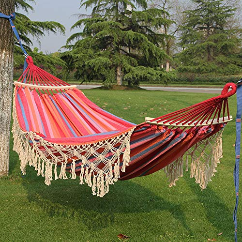 GLYHE Double Hammocks Rollover Prevention, Camping Hammock Breathable Canvas Fabric with Tassel, Striped Hanging Swing Hamock for Patio Travel Hiking,Stripeb