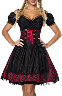 Unbekannt Dirndl Kleid Kostüm mit Bluse und Schürze aus Jacquard Stoff und Spitze Spitzenstoff Oktoberfest Dirndl rot/schwarz Oberteil dunkel