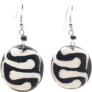 African Fair Trade Round Zig Zag Circle Bone Design up Cycled Camel Batiked Bone Earrings