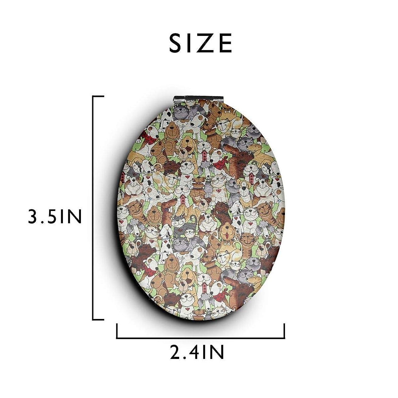 幅アルファベット順フィラデルフィア化粧鏡 コンパクトミラー 犬 手鏡 携帯ミラー 折りたたみ鏡 拡大鏡 両面ミラー