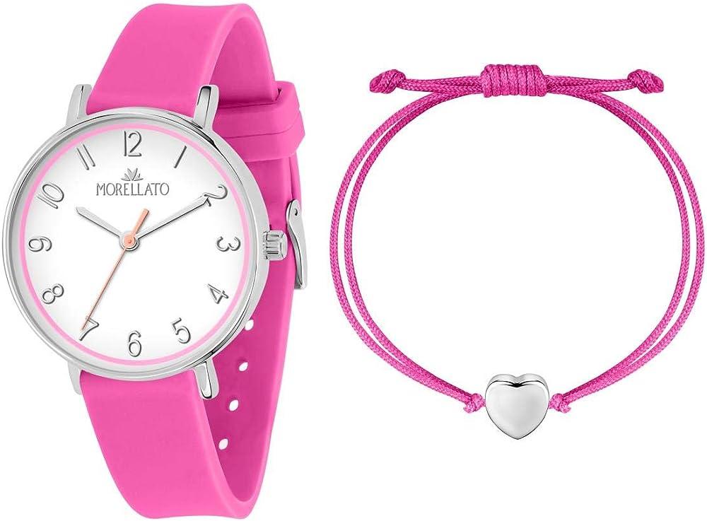 Morellato,orologio da donna,con cinturino in silicone e cassa in acciaio,+ un bracciale in nylon e acciaio 8033288857563