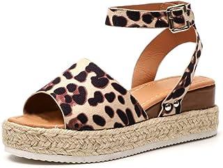 64ef20d5 Sandalias Mujer Plataformas Cuña Verano Alpargatas Hebilla Zapatos Playa  Punta Abierta Tacon 5.5cm Correa de