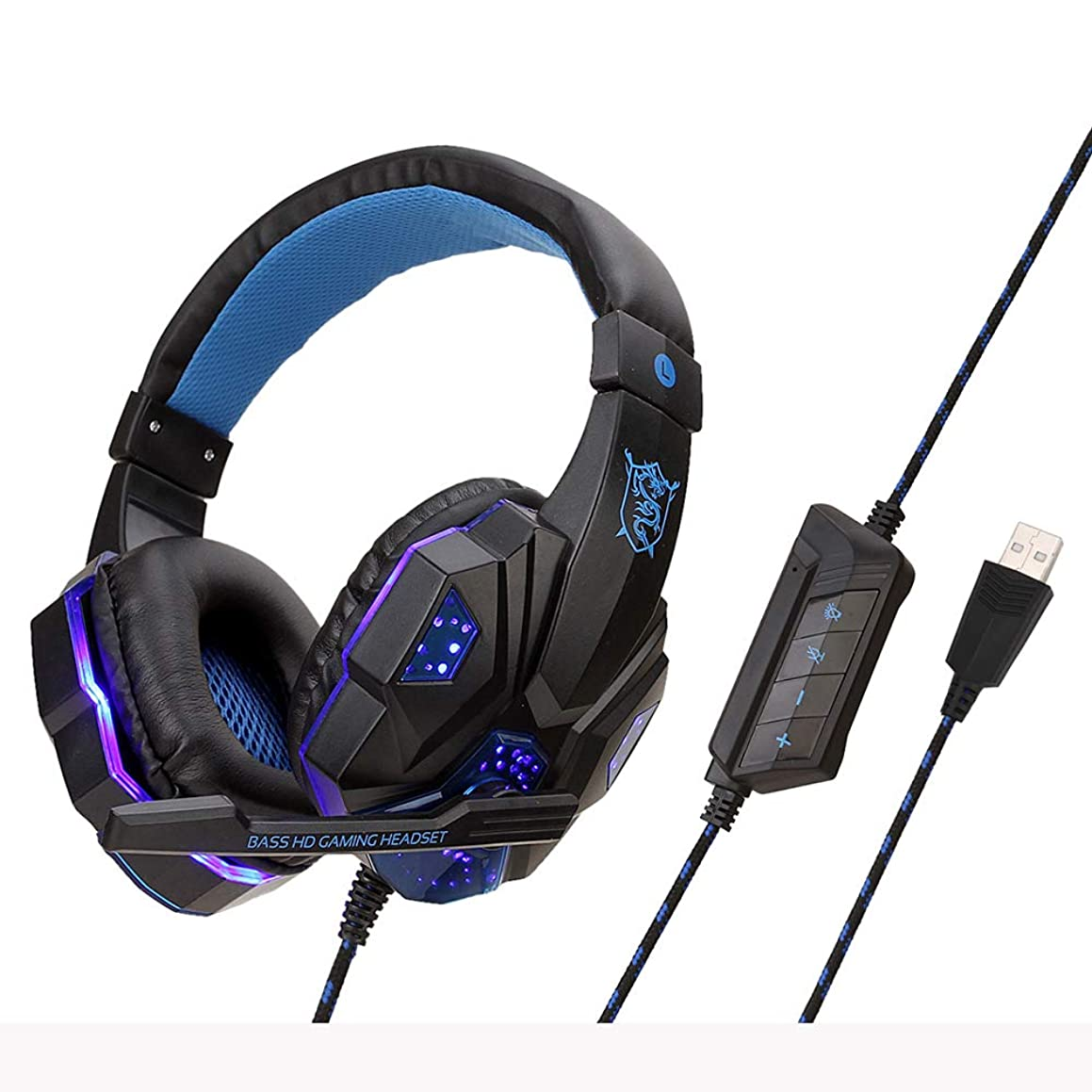 GuangXin Gaming Headset, with Adjustable Noise Cancelling Mic, LED Light, Bass Surround, Soft Memory Earmuffs, Over-Ear Headphone for Computer Game,BlackBlue