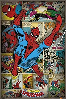 The Amazing Spider-Man - Framed Marvel Comics Poster / Print (Retro Comic Style Collage) (Size: 24