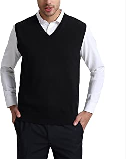 Kallspin Men's Cashmere Wool Blend Relax Fit Vest Knit V-Neck Sleeveless Pullover Sweater