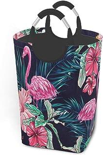 N\A Flamingos Fleur Panier à Linge Sale vêtements Sac Pliable Panier à Linge Jouets Organisateur de Rangement avec poignée...