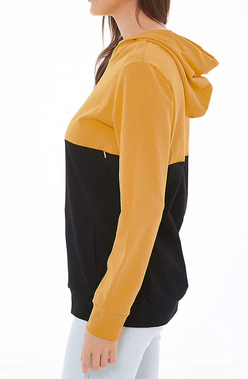Smallshow Stillpullover Hoodie Damen Langarm Stillen Shirt Patchwork Invisible Zipper Kapuzenpullover