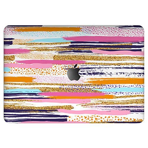 Vonna Vinyl Decal Skin for Apple MacBook Pro 16' 2019 Pro 13' 2020 Retina 15' Air 13' Mac Air 11 Mac 12 Abstract Cover Fansy Artwork Girly Print Sticker Pink Design Stripes Orange Protective vm1231