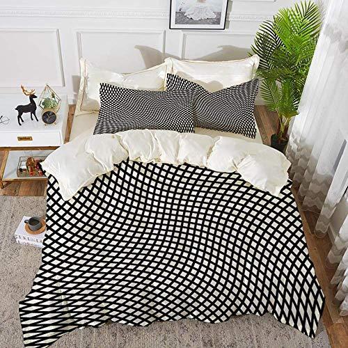 ropa de cama: juego de funda nórdica, decoración de chapiteles, diseño minimalista con distorsión cúbica y rotativa pequeña en forma de cuadrado ondulado, juego de funda nórdica de microfibra hipoaler