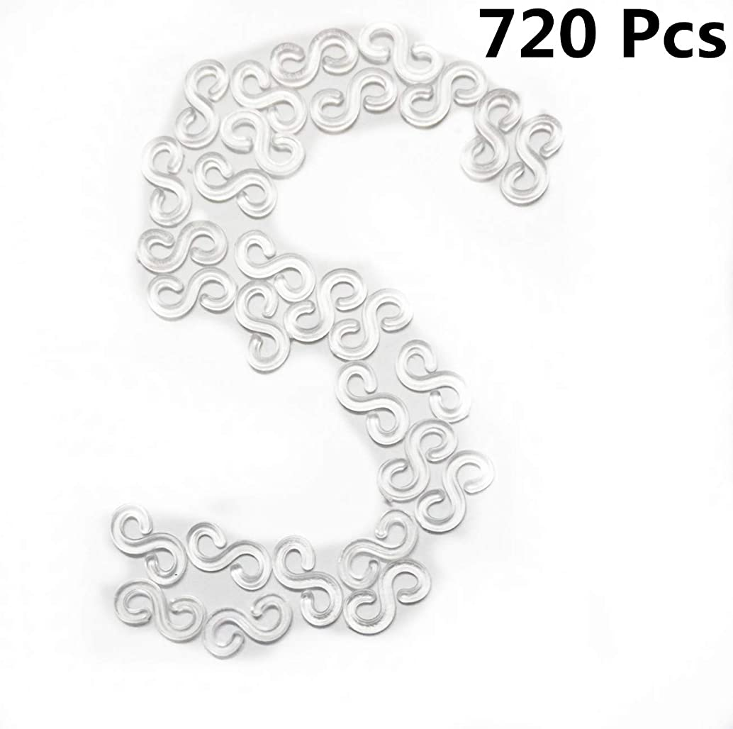 720 Pcs S Clip for Rubber Band Loom Bracelet Necklace DIY Woven Loom Kit S Clips Connectors Refills(Clear)