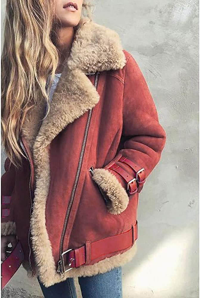 Women's Winter Coat Motorcycle Faux Fur Thermal Coat, Lightweight, Warm and Breathable KLGDA