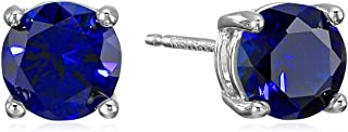 Amazon Essentials Boucles d'oreilles à tige en argent sterling véritable ou en forme de pierre de naissance
