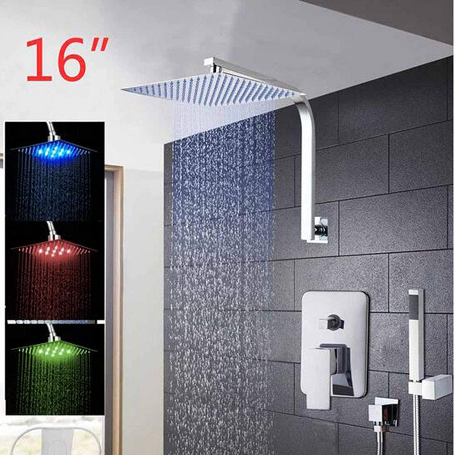 Elegant Wall Mounted Bathroom Shower Faucet Set Rainfall Head +Mixer Taps Hand Shower Waterfall Rain Bathroom Faucets,16inchLED