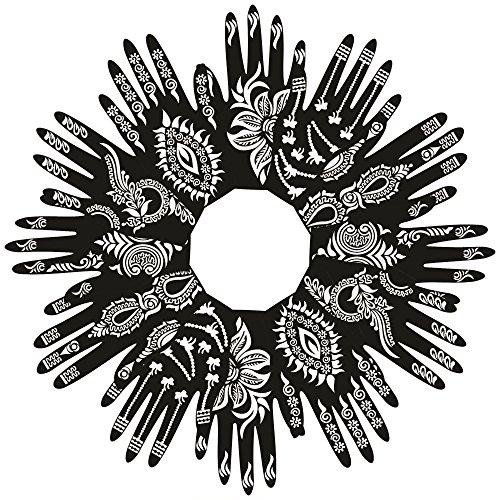 PARTH IMPEX Henna Tattoo Schablonen (12 Stück) selbstklebende schöne Körperbemalung Kunst Designs temporäre Mehndi Zeichnung Hand Vorlage