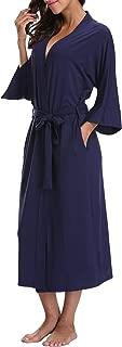 Women's Cotton Kimono Robes Soft Modal Knit Bathrobe Nightgowns Long Lightweight