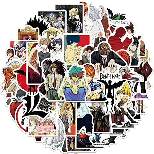 SHUYE Death Note Pegatinas de Anime japonés para Equipaje de Ordenador portátil Motocicleta teléfono monopatín Juguetes Coche Diario Casco 50 Uds