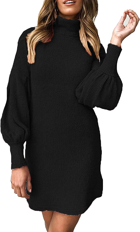 Meenew Womens High Neck Sweater Dress Lantern Long Sleeve Ribbed Mini Dress