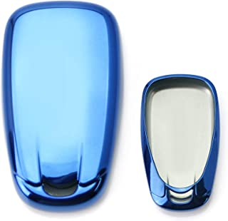 iJDMTOY Chrome Finish Blue TPU Key Fob Protective Cover Case For 2016-up Chevrolet Camaro Cruze Spark Volt, 2017-up Malibu Bolt Sonic Trax, etc