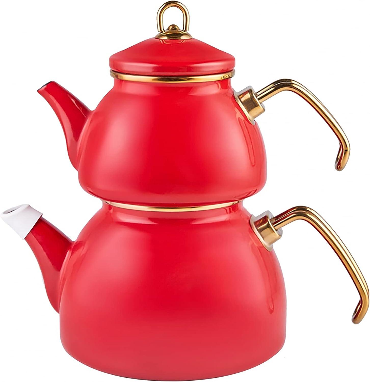 KARACA Retro Enamel Finally popular brand CAYDANLIK Teapot Classic Red