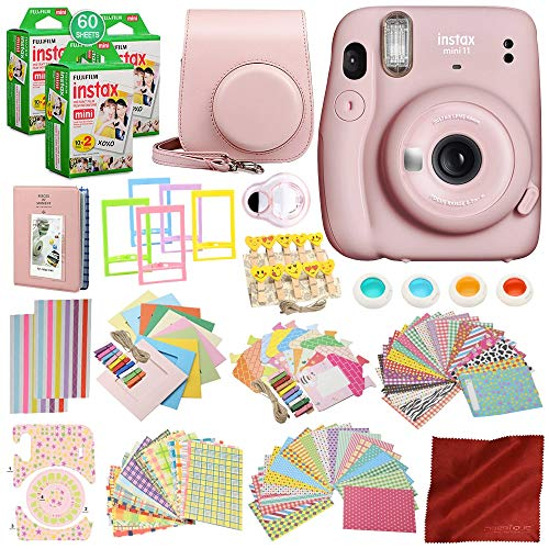 FUJIFILM INSTAX Mini 11 Instant Film Camera (Blush Pink) with 168 Piece Accessory Bundle x3 FUJIFILM INSTAX Mini Instant Film (20 Exposures) Camera Case with Strap, Selfie Lens and a Whole Lot More