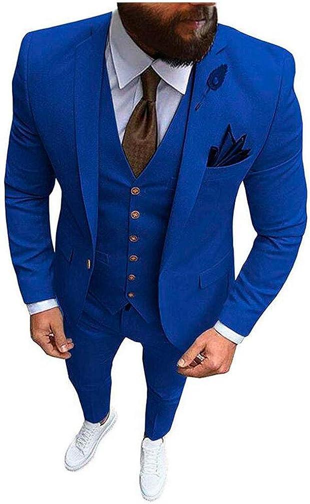 Men's Slim Fit Peak Lapel Suits Jacket Vest Pants 3 PC One Button Wedding Tuxedos Dinner Suits