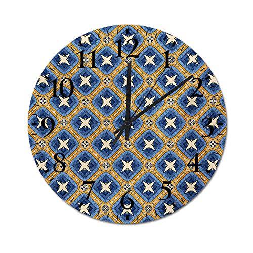 Homesonne Clock Vintage Tile Ornament Diagonal Pattern with Arabesque Art Influences Retro Quartz Decorative Wall Clock Functional, Beautiful, Silen Blue Orange Beige 13.4 Inch